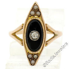 Antique Victorian 10K Rose Gold Black Onyx Diamond & Pearl Marquise Cluster Ring