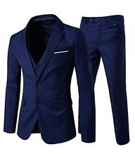 Men's Modern Fit 3-Piece Suit Blazer Jacket  & Trousers Navy Blue XL 019