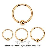 """2pcs. 18G~1/4"""" to 1/2"""" Rose Gold IP Steel Captive Bead Ring Nose Hoop Ear Tragus"""