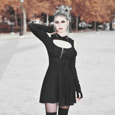 Plus Women Gothic Solid Dresses Hooded Long Sleeve Modern Punk Mini Dress