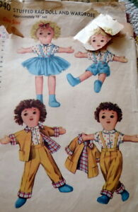 """GREAT VTG 1950s 18"""" RAG DOLL & DOLL CLOTHING SEWING PATTERN"""