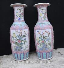 Pair Big Chinese Qianlong Porcelain Urns Vases Ceramic