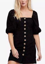 Free People Black Eyelet Embroidered Daniella  Mini Dress size 8~NWT