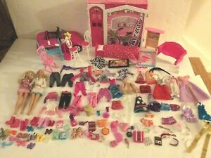 Huge lot Barbie Folding house, Car, dolls, clothes and accessories over 108 pcs