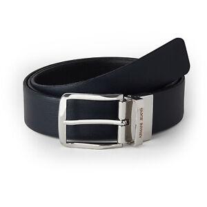 Armani Jeans Belt Men's New Reversible Leather Black Belt, One Size Fits All