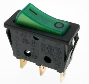 Lot of 2, Snap-in green illuminated Rocker Switch 20A/125VAC 15A/250VAC SPST NOS