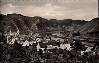 Karden Mosel s/w AK ~1950/60 Teilansicht mit Blick auf die Mosel Weinberge Hügel