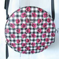 New Guess Crossbody Bag Round Black Pink Gingham Check Floral