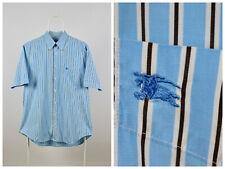 Mens Burberry London Shirt Short Sleeve Striped Blue Size L Cotton
