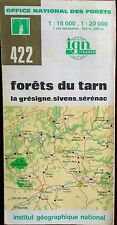IGN 1982 COLOURED CONTOURED PAPER MAP of FORETS du TARN No.422 1:15 000