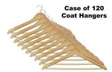 **Wholesale** Wooden Coat hangers Case of 120 CLOTHS DRESS SUIT TROUSER with BAR