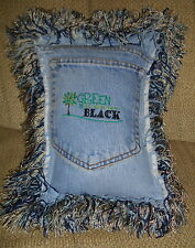 Hippie, Bohemian Green Is New Black Jean Pocket Pillow, Gypsy,BoHo,Shabby
