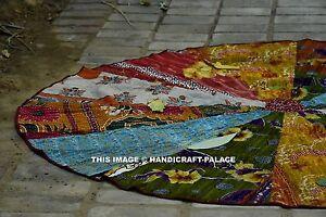 Patchwork Quilt Round Beach Tapestry Hippie Throw Yoga Mat Indian Kantha Roundie