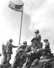 FIRST FLAG RAISING AT IWO JIMA WWII 11x14 SILVER HALIDE PHOTO PRINT