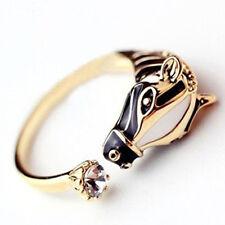 Women Lady New Zebra Horse Head Rhinestone Adjustable Opening Finger Ring Gift