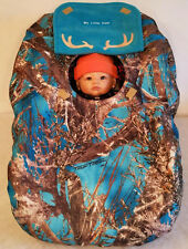 Cozy Car Seat Cover True Timber Blue Fleece Camo Baby Custom Embroidery Infant