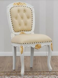 Executive office chair Susan Decape style ivory and gold leaf faux leather champ