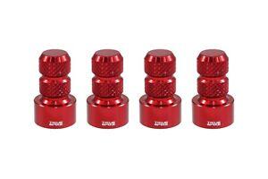 4 TRUE SPIKE RED ALUMINUM TPMS WHEEL RIM AIR VALVE STEM COVERS CAP SET FOR JEEP