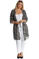 Plus Size Ladies 3/4 Sleeve Belted Floral Print Long Chiffon Kimono Cardigan Top