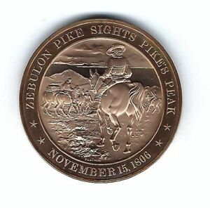 1806 ZEBULON PIKE PIKES PEAK ROCKY MOUNTAINS FRANKLIN MINT BRONZE COIN MEDAL