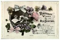 Antique RPPC postcard Birthday Wishes card Sister dog & flowers