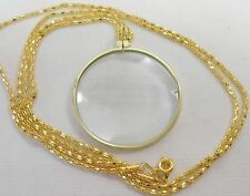 VINTAGE NEW OLD STOCK GOLD PLATED LARGE 5 X MAGNIFYING GLASS PENDANT NECKLACE