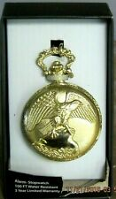 Alarm Stopwatch Eagle Gold Pocket Watch 100 Feet Water Resistant New In Package!