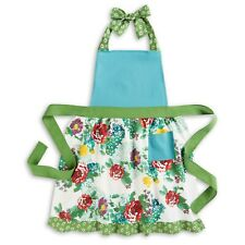 Pioneer Woman Country Garden Floral Green Teal Cotton Kitchen Apron NEW