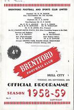 Football Programme>BRENTFORD v HULL CITY Sept 1958