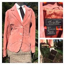 NWT Pink Suede Leather Jacket Blazer Scalloped Embroidered Womens Lg Terry Lewis