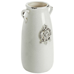 MyGift Farmhouse Milk Jug Style Antique White Ceramic Planter Vase with Handles