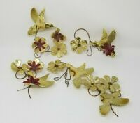 Homco Home Interiors Brass Plated Hummingbird Flower Wall Sculptures Accents