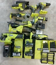 Ryobi 18V One+ 9 Tool Combo Kit w/ 3 Battery, Charger & Bit Sets