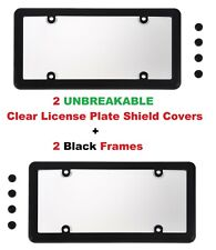 2 UNBREAKABLE Clear License Plate Shield Covers + 2 Black Frames for Cars New