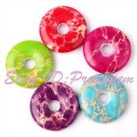 25mm Donut Round Imperial Jasper Gemstone Pendant Beads For Jewelry Making 1 Pcs