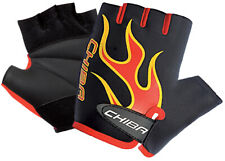 Kid's Cycling Mitt Gloves Short Finger Chiba Flame Black/Red Small