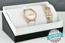New GuEsS Rare Collections Watch Ladies White Gold Leather Women Genuine