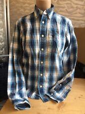 Hollister Hemd Kids Muscle Blau Weiß Kariert Gr 164 XL Cotton 1A Zustand