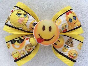 "Girls Hair Bow 4"" Wide Emoji Yellow Ribbon Tongue Flatback French Barrette"