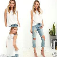 Women Chiffon Lace Sleeveless Shirt Blouse Casual Tank Tops Summer Casual Vest
