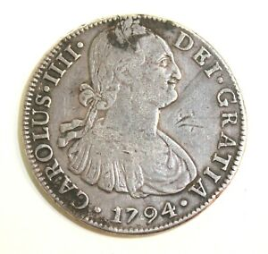 1794 Mexico Silver 8 Reales Antique 1700's Mo F.M. Spanish Rare Colonial Coin