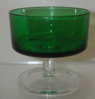 France Luminarc Glass Forest Green Sherbet Sundae Clear Stem Footed 5 oz