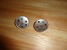 VINTAGE MOONGLOW LUCITE RHINESTONE ROUND CLIP ON EARRINGS