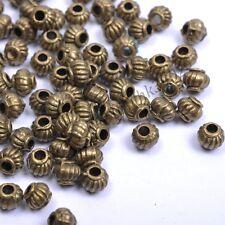 30 Pcs Tibetan Silver Bronze Round Barrel Lantern Spacer Beads 5MM D276