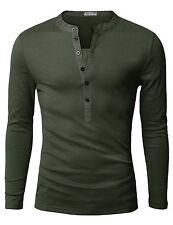 NEW Youstar Doublju Mens Long Sleeve Slim Fit Henley Shirt Khaki US Small