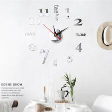 New Modern DIY Large Wall Clock 3D Mirror Surface Sticker Home Office Room Decor