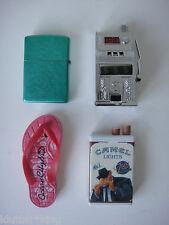 4 Vintage Cigarette Lighters Zippo Camel Slot Machine Sandal