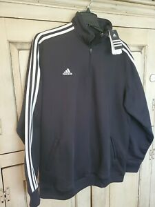 Men's Adidas Quarter-zip LS Pullover 2XL XXL Black / White Stripe NWT