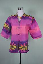 Vtg 80s Retro Ladies Purple Stripe Floral Summer Linen 3/4 Sleeve Jacket sz L LW