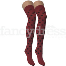 Red with Black Spot Hold Ups Stockings Ladybird Ladybug Fancy Dress Accessory